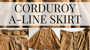 Corduroy A-Line Skirt With Button-Front