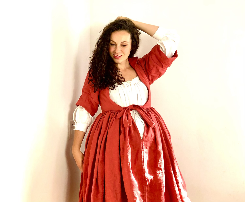 18th century corset stays dressing gown maternity historical dress