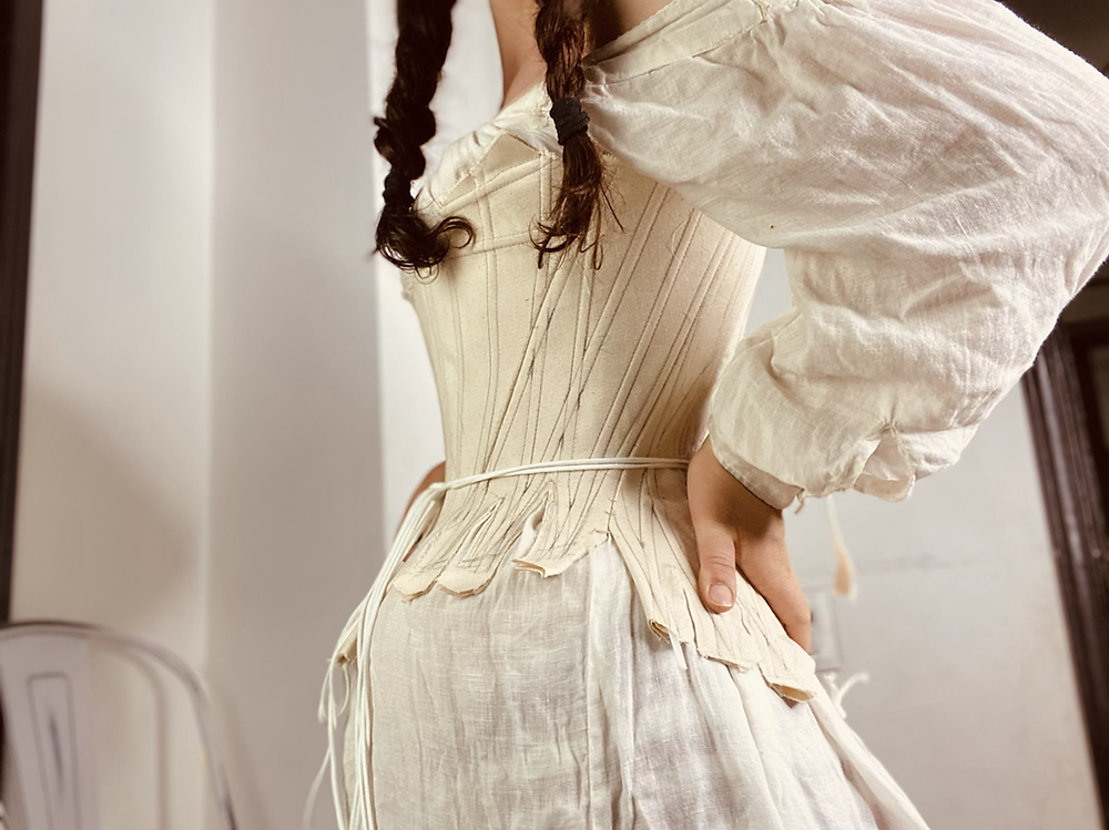 18th century stays mock-up corset canvas