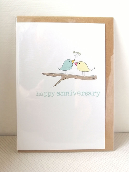 Happy Anniversary - birds on a branch card
