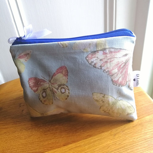 Flat purse blue butterfly print make up bag