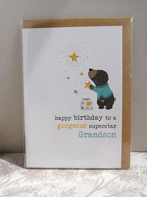 Gorgeous superstar grandson birthday card