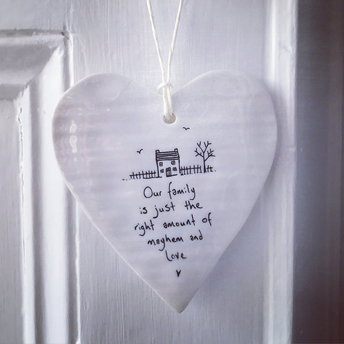 Porcelain hanging heart- Our family