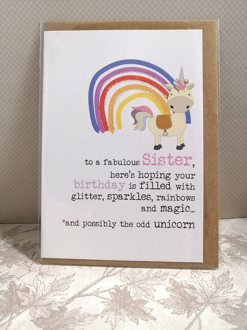 Unicorn Fabulous Sister card