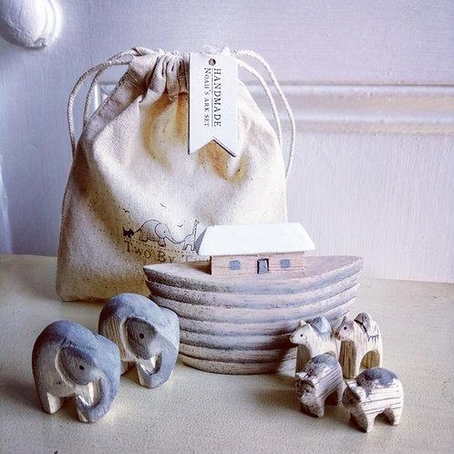 Noah's Ark set in cotton bag