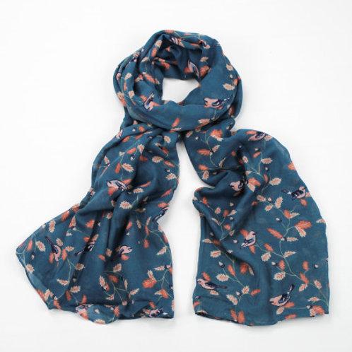 Teal bird print scarf