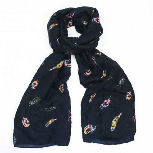 Navy feather print print scarf
