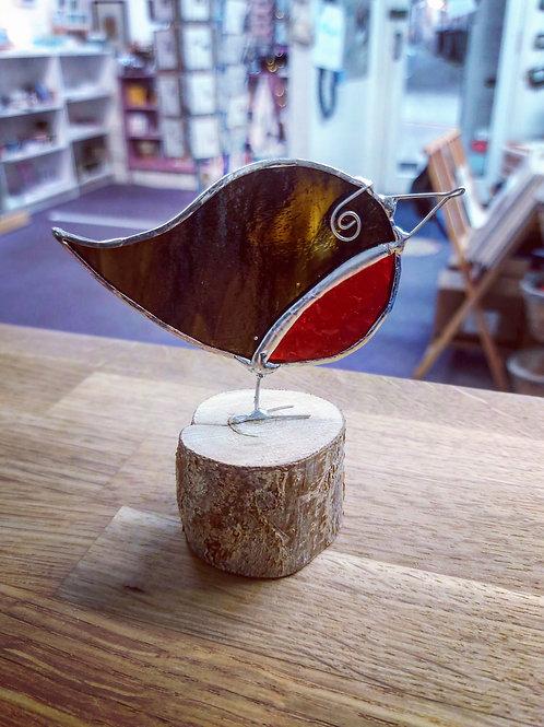 Glass Christmas robins