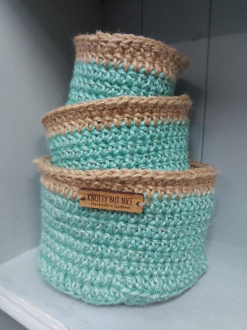 Trio of nesting macrame baskets