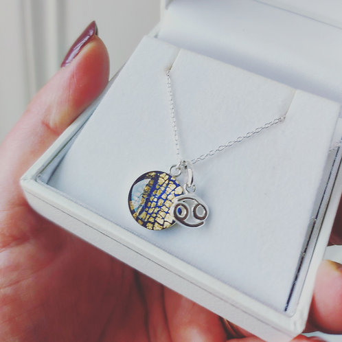 Personalised zodiac sign sterling silver charm necklace