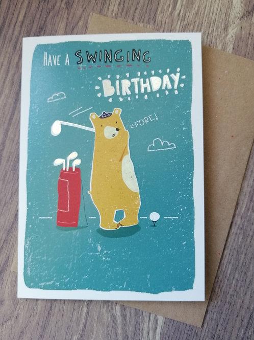 Birthday Card - swinging birthday