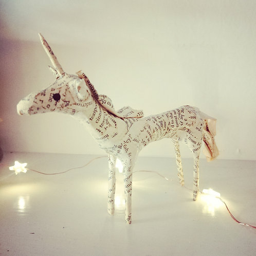 Handcrafted Unicorn made from vintage book pages