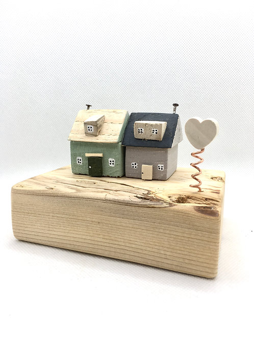 Cute Double Cottage with heart made from local driftwood