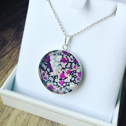 Liberty of London purple pepper fabric Sterling silver pendant