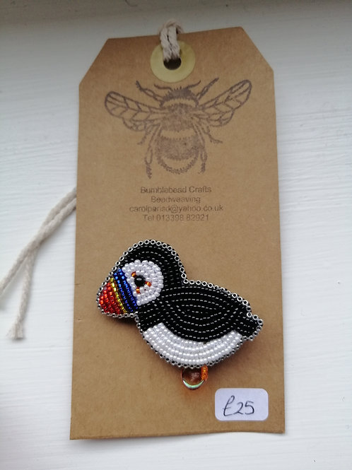 Beaded Puffin Brooch approximate size 5cm X 4cm