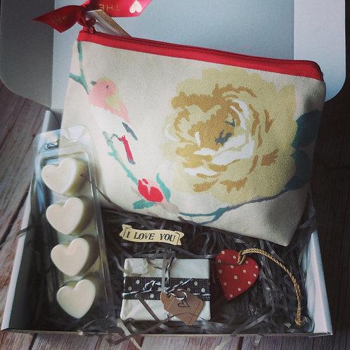 Vintage rose & bird print make up bag Mother's Day Gift Box