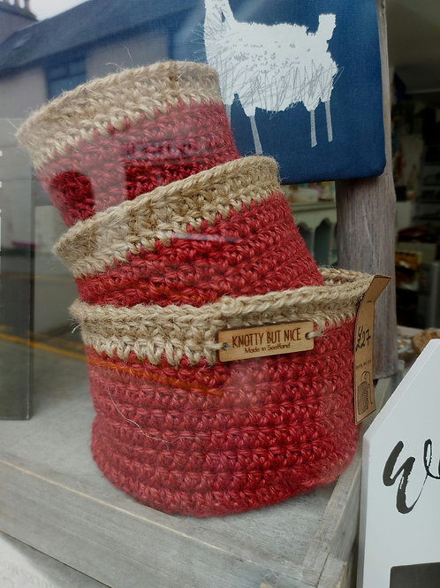 Trio of nesting macrame baskets