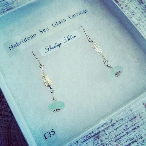 Hebridean sea glass sterling silver earrings