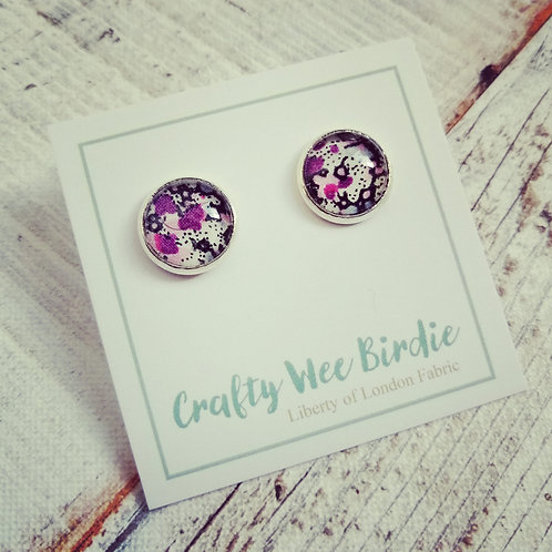 Purple stud earrings with Liberty of London fabric
