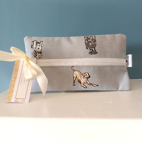 Dog print blue print pouch