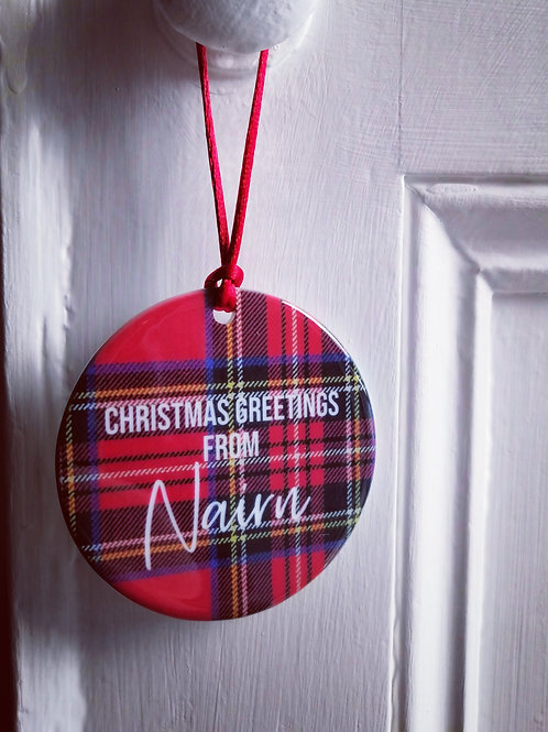 Christmas greetings from Nairn decoration