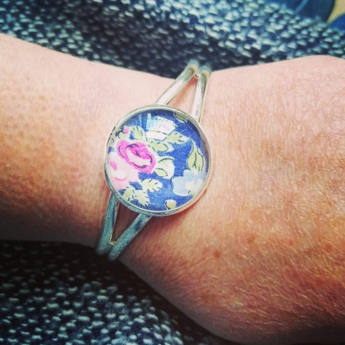 Copy of Cuff bracelet with blue & pink Liberty fabric
