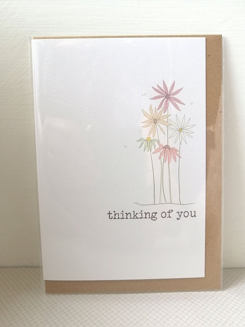Thinking of you card - flowers card