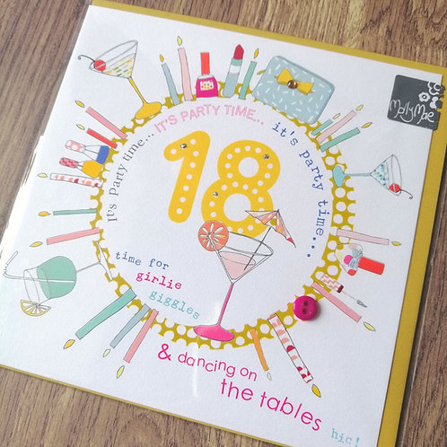 18 party time, Happy Birthday card