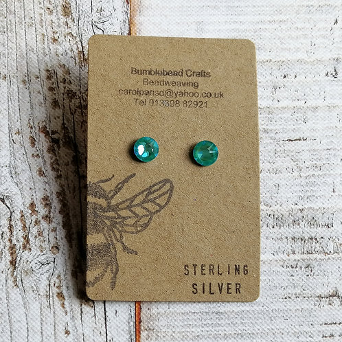 Turquoise Sterling silver swarovski studs