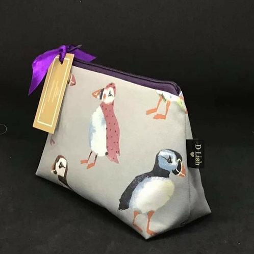 Puffin print make up bag