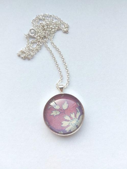 Purple pendant using Liberty of London fabric