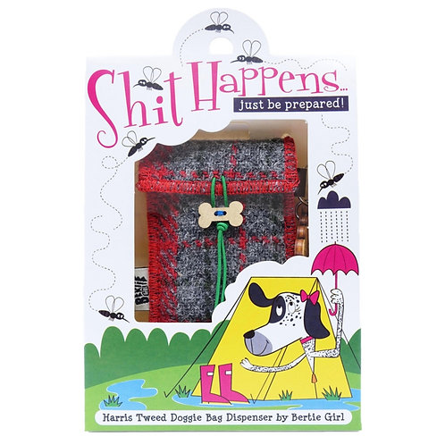 Shit happens - Red Harris Tweed doggy bag dispenser