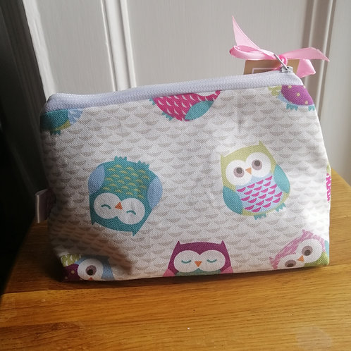 Owl print make up bag