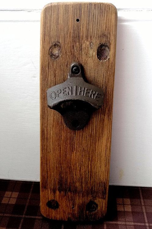 Whisky barrel bottle opener