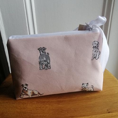 Dog print make up bag
