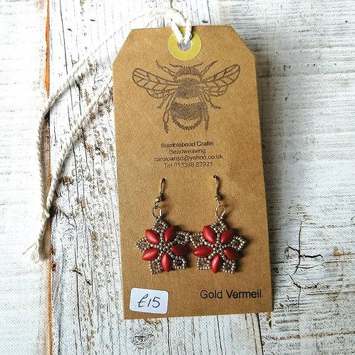 Rust red colour beaded earrings