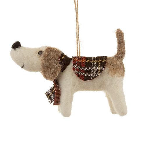 Tartan dog hanging decoration