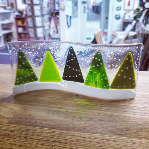 Glass Christmas tree wave ornament