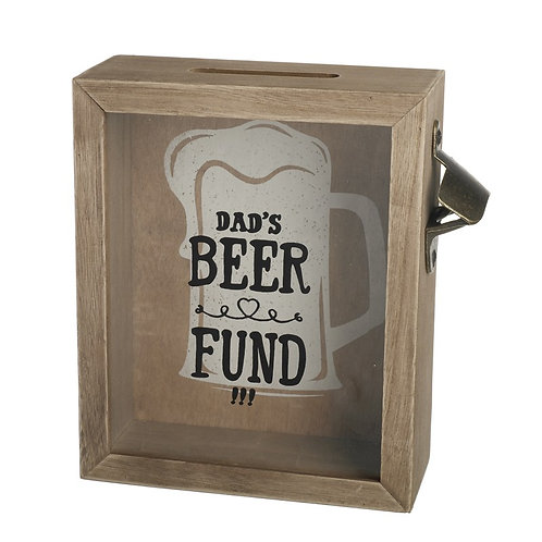Dad's wooden money box with bottle opener