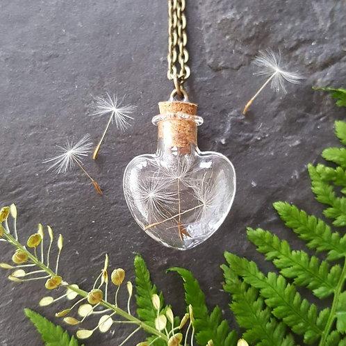 Heart dandelion glass bottle necklace
