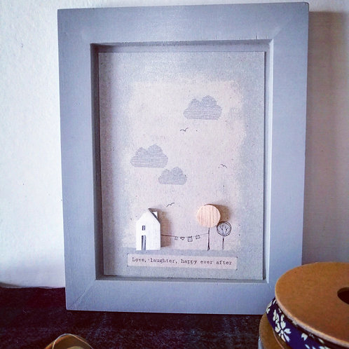 Wooden Picture - Love, Laughter, Happy Ever After