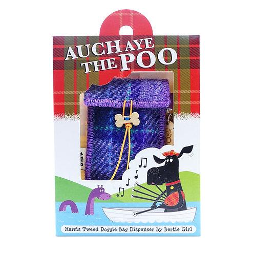 Auch Aye The Poo!  Purple check Harris Tweed doggy bag dispenser