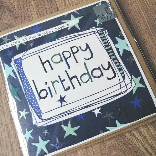 Happy Birthday - blue stars