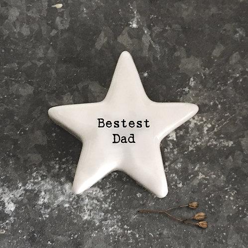 Bestest Dad star shape  ceramic  token