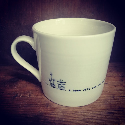 East of India porcelain mug - A brew will see you through