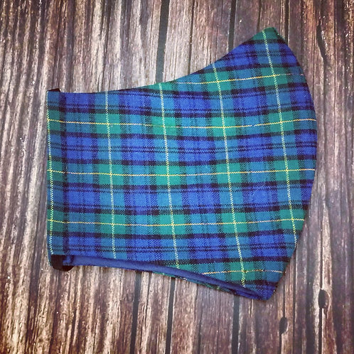 Female adult face coverings -  tartan green & navy check