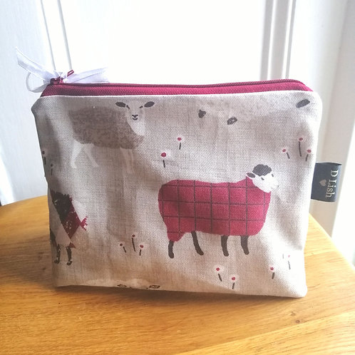 Flat purse sheep print make up bag