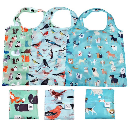 Foldaway shoppers - cats, dogs & birds