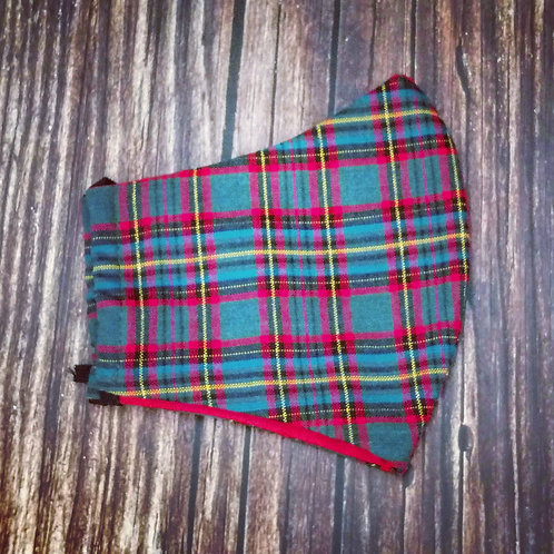 Female adult face coverings -  tartan red & green