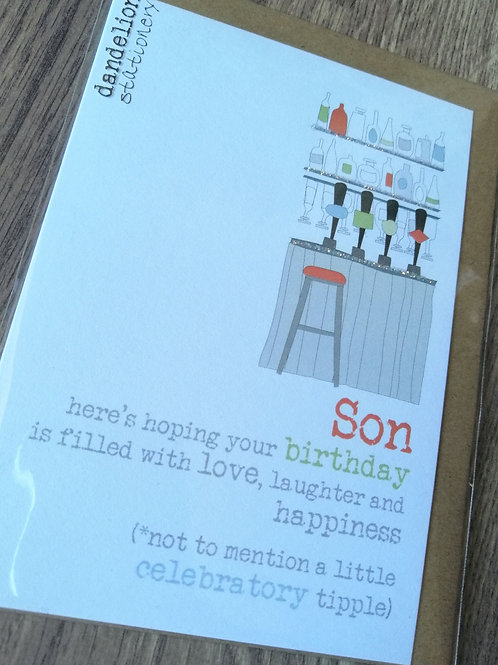 Celebratory tipple Son card
